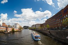 Ship on the river Spree in Berlin Stock Images