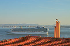 Ship on river Tejo (Lisbon) Royalty Free Stock Photos