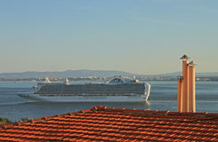 Ship on river Tejo (Lisbon) Royalty Free Stock Image