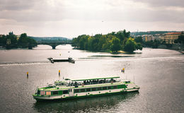 Ship on river Vltava Royalty Free Stock Image