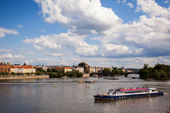 Ship on the river Vltava. Prague. Stock Image