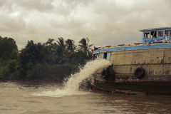 Ship on river. The ship on river , water discharge Stock Images