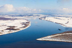 Ship on the river in winter, top view Stock Images
