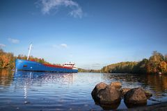 Ship and rocks, Baltic sea, Saima channel in Russia Royalty Free Stock Photo