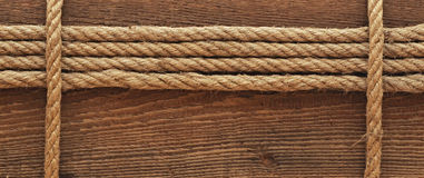 Ship Rope And Old Wood Background Stock Photo
