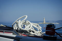 Ship rope on board a vessel Stock Images