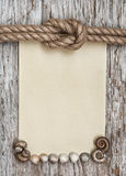 Ship rope, canvas, sea shells and old wood Stock Images