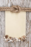 Ship rope, canvas, sea shells and wood background Royalty Free Stock Images