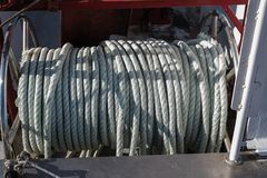In the ship rope coiled in the drum royalty free stock photos