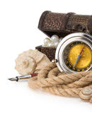 Ship rope and compass Stock Photos
