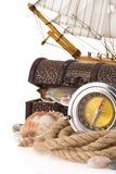 Ship rope and compass Stock Images