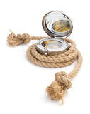 Ship rope and compass isolated on white Stock Image