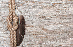 Ship rope, feather and wood background Royalty Free Stock Photo
