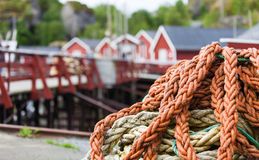 Ship rope in the fishing village Stock Images