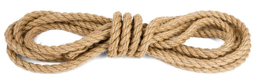 Ship rope isolated on white background. Closeup royalty free stock image