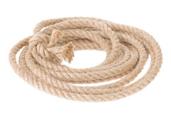 Ship rope with knot on white Stock Photos