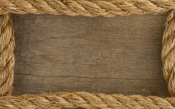 Ship rope and old wood background Royalty Free Stock Image