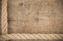 Ship rope and old wood background texture Royalty Free Stock Images