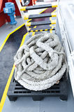 Ship rope. On supply boat Stock Photos