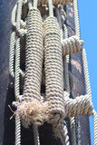 Ship rope tied, Coil of rope. Royalty Free Stock Photos
