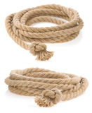 Ship rope tied with knot isolated on white Royalty Free Stock Images
