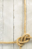 Ship rope on wood Stock Images