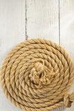 Ship rope on wood Royalty Free Stock Images