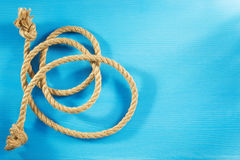 Ship rope on wood Royalty Free Stock Image