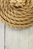 Ship rope on wood Royalty Free Stock Photos