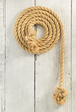Ship rope on wood Royalty Free Stock Photography