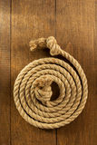 Ship rope on wood Royalty Free Stock Image
