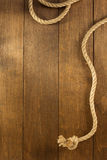 Ship rope on wood Stock Photography