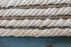 Ship rope on wooden background Royalty Free Stock Photography
