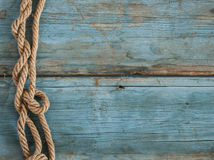 Ship rope on wooden background Royalty Free Stock Photo