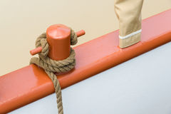 Ship rope. Wrapped around the handle stock photography
