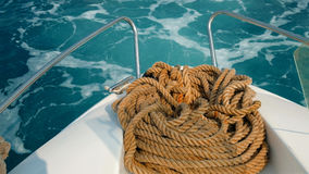 Ship rope on the yacht on background of ocean water Stock Photography