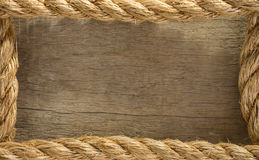 Ship ropes as wood background Stock Images