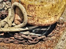 Ship ropes. On bollard Royalty Free Stock Photos