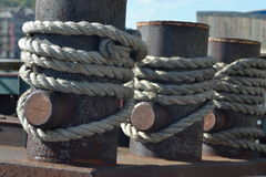 Ship ropes stock image
