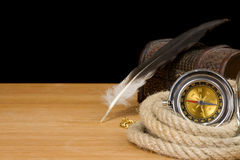 Ship ropes and compass on black Royalty Free Stock Images