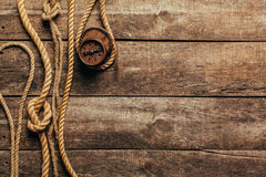 Ship ropes and compass Royalty Free Stock Photos