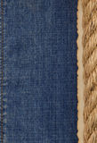 Ship ropes on jeans background Royalty Free Stock Photos