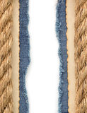 Ship ropes on jeans background Stock Photo