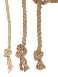 Ship ropes with knot on white Royalty Free Stock Photography