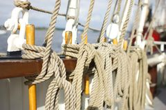 Ship ropes rigging of an sailing ship stock images