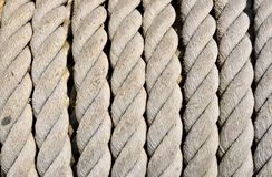 Ship ropes sack. As background texture Stock Photos