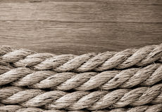 Ship ropes on wood Royalty Free Stock Image