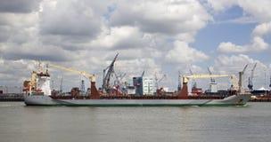 Ship in Rotterdam Harbor Royalty Free Stock Photos