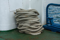 Ship rough rope roll on deck of vessel Royalty Free Stock Photos