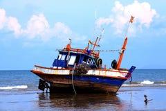 The ship runs ashore Stock Photos